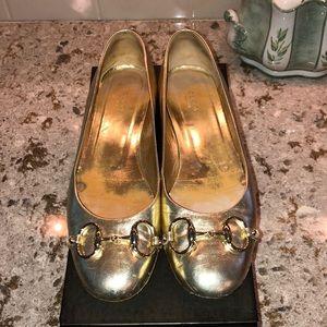 Gucci Gold Horsebit Ballet Flats